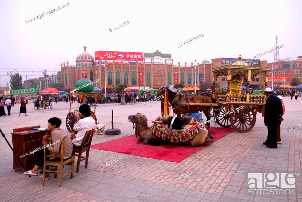 Stock Photo: China, Xinjiang, kashgar, near Id Kah mosque, attractions for tourists.