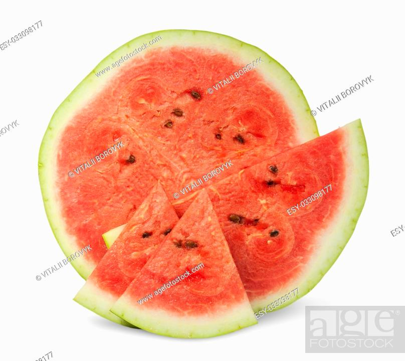 Stock Photo: Several slices of watermelon different size isolated on white background.