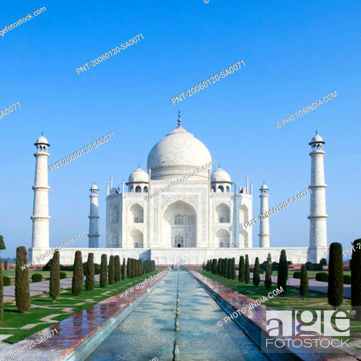 Stock Photo: Facade of a mausoleum, Taj Mahal, Agra, Uttar Pradesh, India.