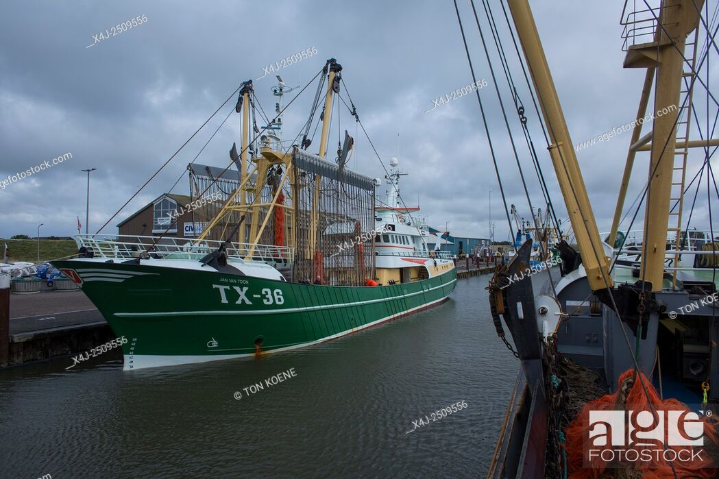 Stock Photo: Dutch fishing vessel fishing on the Northies for sole and flounder.