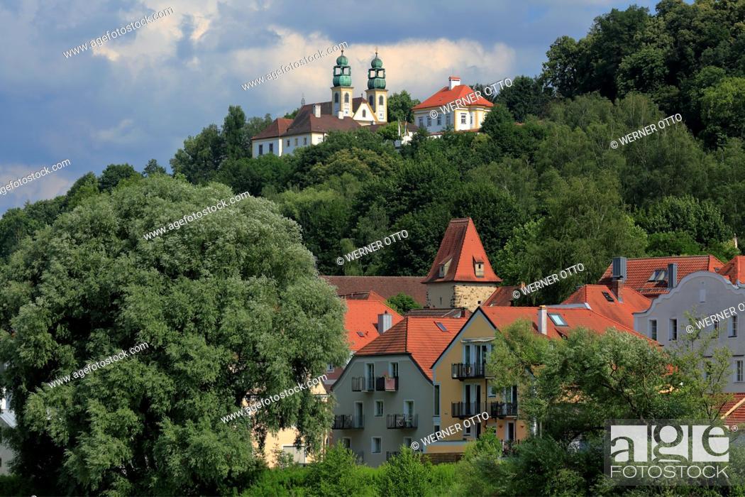 Stock Photo: Germany, Bavaria, Eastern Bavaria, Lower Bavaria, Passau, Danube, Inn, Ilz, Passau-Innstadt, pilgrimage church and monastery Maria Hilf, baroque.