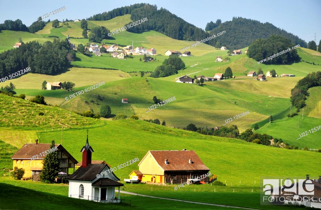 Stock Photo: Appenzell (Switzerland): view of the hills.