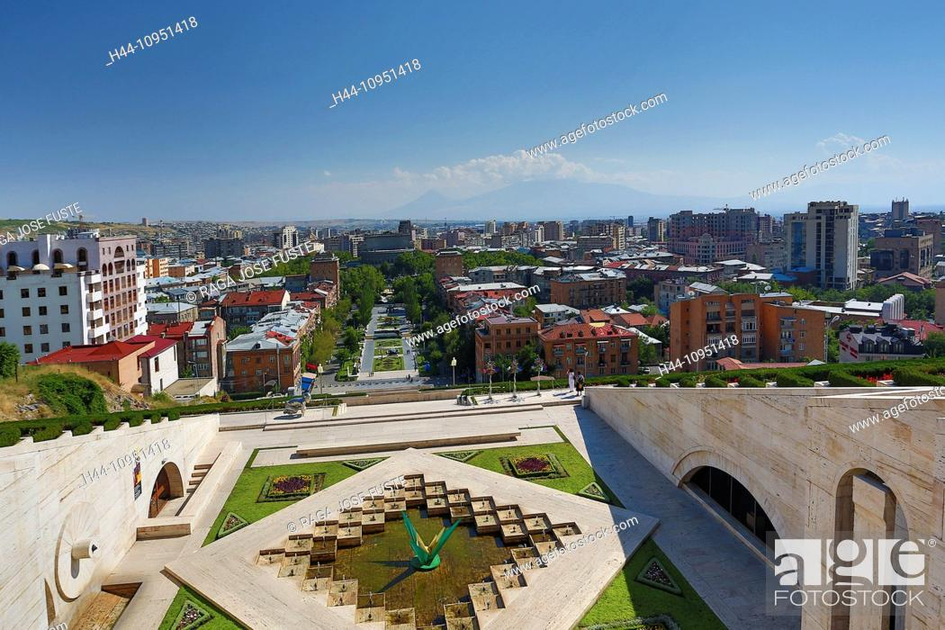 Stock Photo: Armenia, South Caucasus, Caucasus, Eurasia, Cascade, Complex, Yerevan, Ararat, mountain, architecture, avenue, city, downtown, house, mountain, opera, skyline.