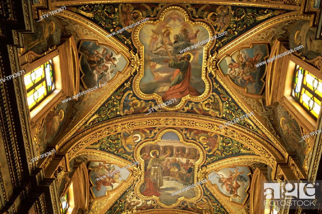 Stock Photo: Ceiling, Church, Heritage, Holiday, Interior, Landmark, Malta, Pauls, Shipwreck, Tourism, Travel, Unesco, Vacation, Valetta, Wor.