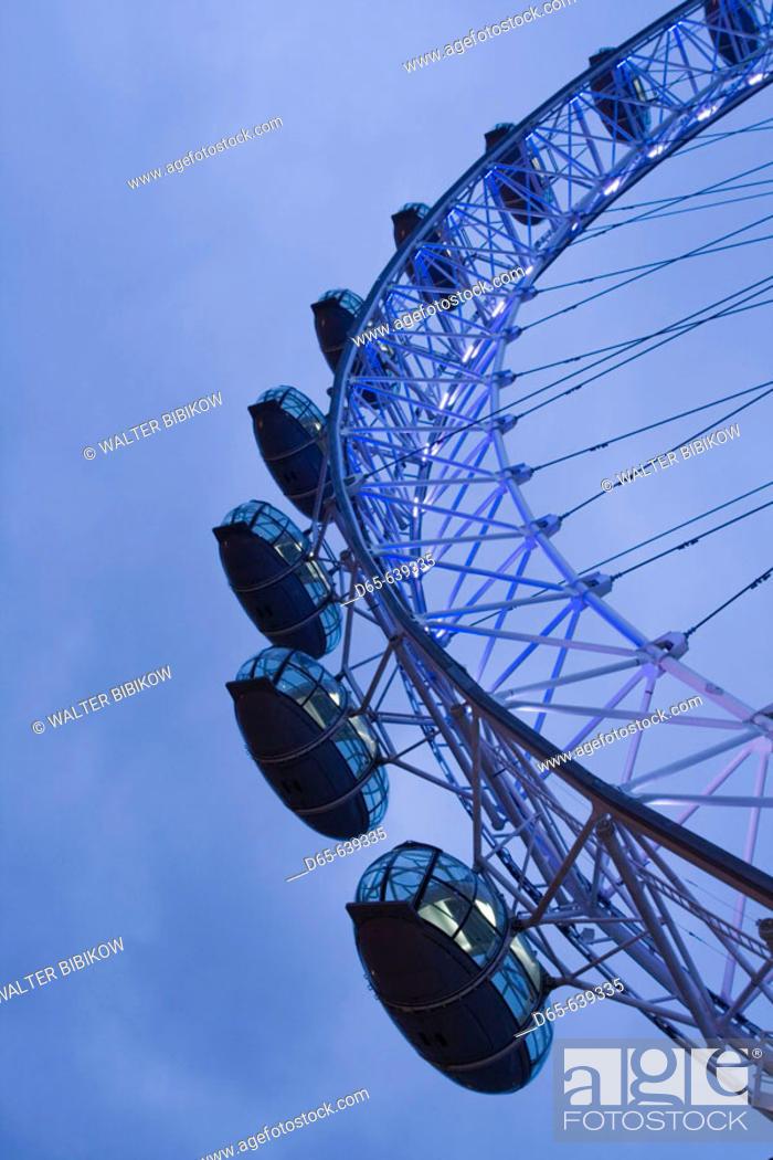 Stock Photo: London Eye / Pre-Dawn. Southbank. London. England. UK.