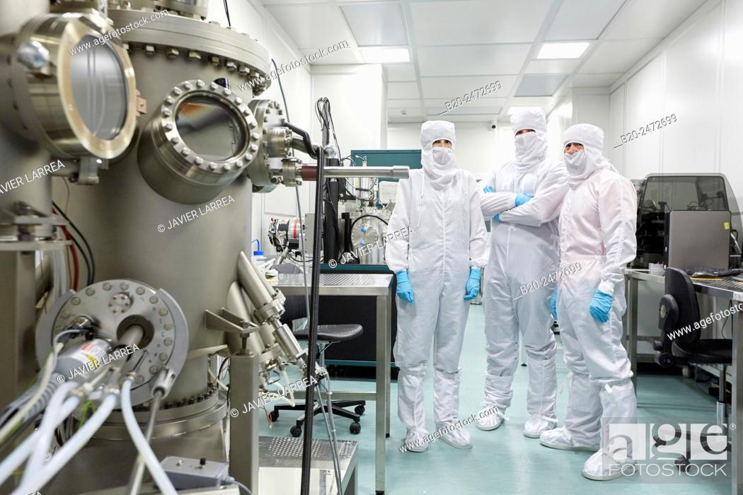 Stock Photo: Createc UHV deposition system. Cleanroom. Nanotechnology. Laboratory. CIC nanoGUNE Nano science Cooperative Research Center. Donostia. San Sebastian.