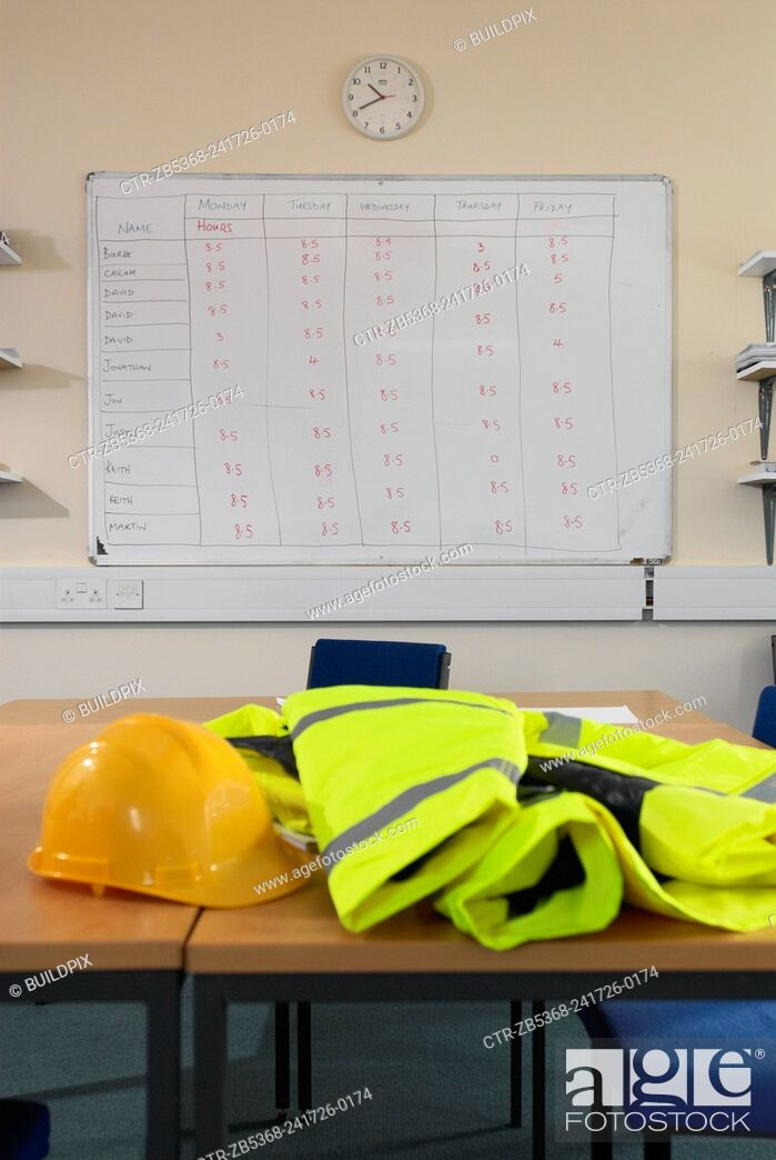 Imagen: Timesheet schedule with health and safety gear.