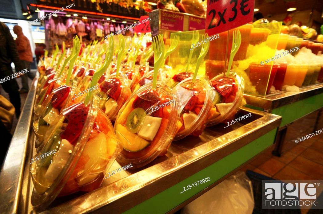 Stock Photo: Food market La Boqueria Barcelona, Catalonia, Spain.