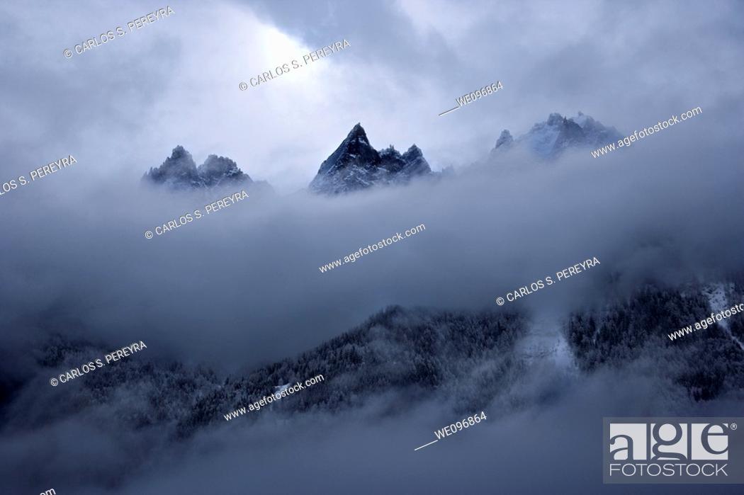 Stock Photo: Aiguille du Midi, Rhone Alpes, France.
