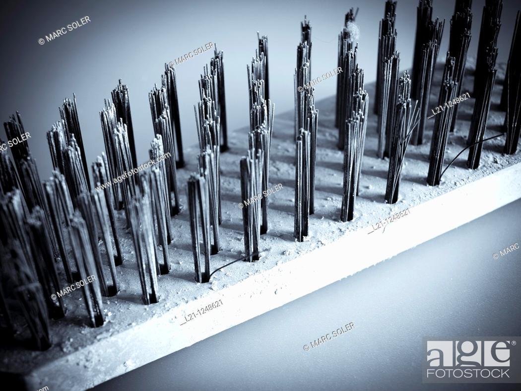Stock Photo: Metal bristles of a brush.