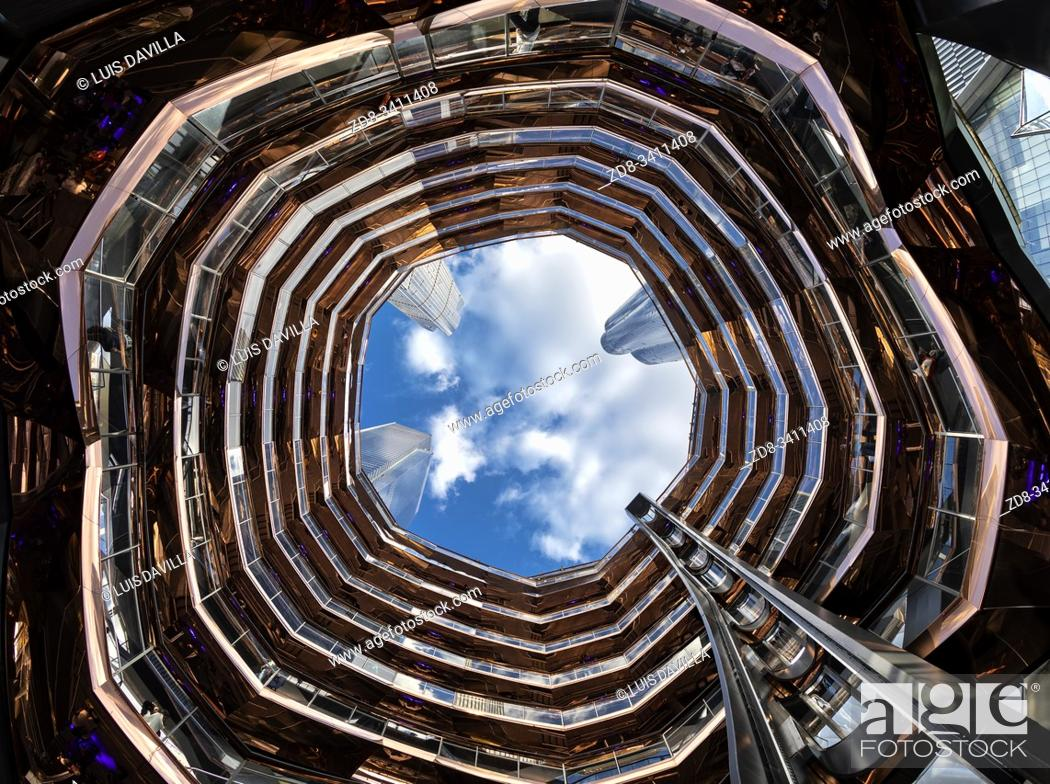 Stock Photo: Inside The Vessel in the Hudson Yards area. New York . USA- Oct 6, 2019.