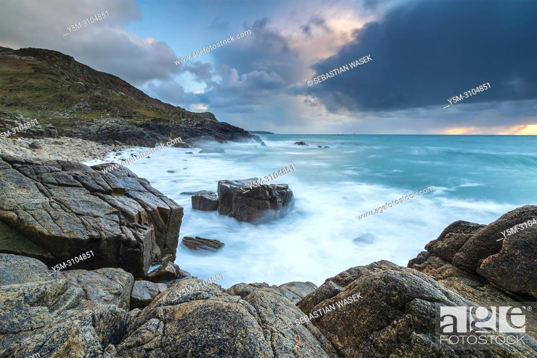 Stock Photo: Porth Nanven, a rocky cove near Land's End, Cornwall, England, United Kingdom, Europe.