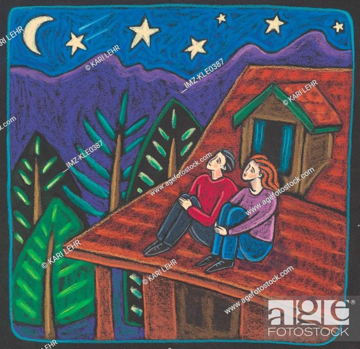 Stock Photo: A couple sitting on the roof of a cabin watching a shooting star in the night sky.