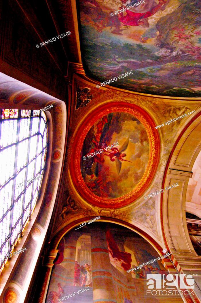 Stock Photo: Frescos by Delacroix in St. Sulpice church. Paris. France.