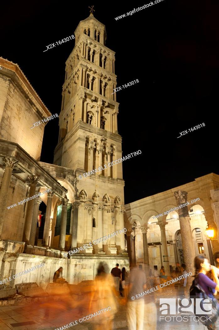 Stock Photo: St Dominus belltower, the Peristyle, Split, region of Dalmatia, Croatia, Europe.