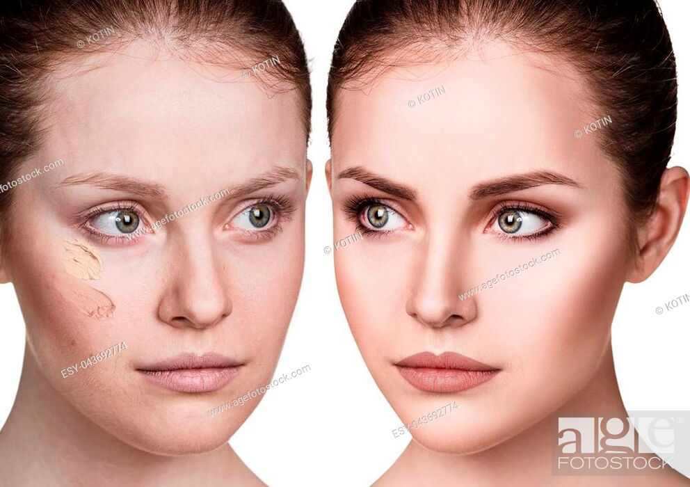 Imagen: Young woman applying make-up foundation. Before and after make-up.