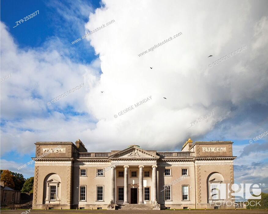 Stock Photo: The entrance to Emo Court designed by the architect James Gandon in 1790 in the neo-classical style, . Emo village, County Laois, Ireland.