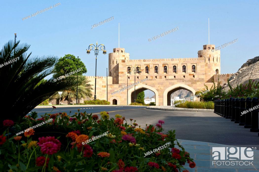 Stock Photo: Arabia, Arabian peninsula, Sultanate of Oman, Muscat, Old Muscat, Bab al-Kabir, main gate of the city fortification.