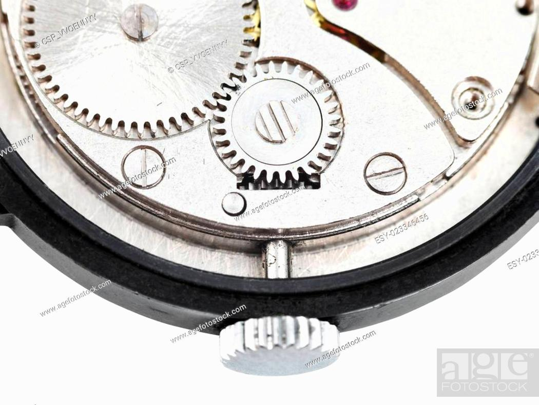 Stock Photo: back side of open old wristwatch isolated on white.