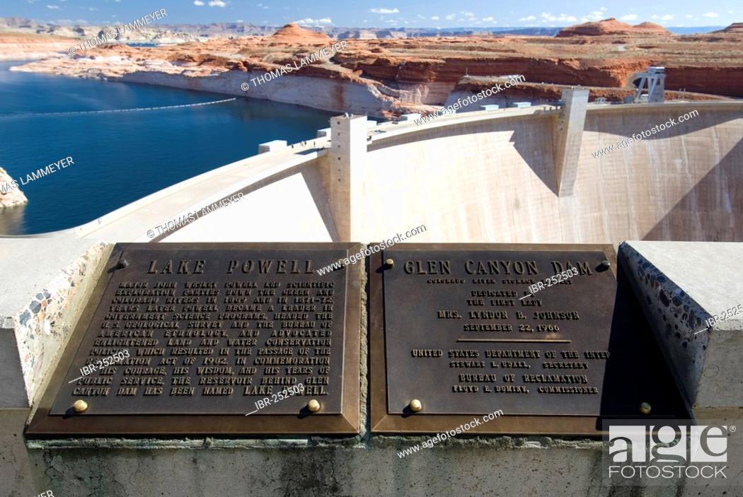 Stock Photo: Dam of the Colorado River to Lake Powell, Glen Canyon Dam, Arizona, USA.