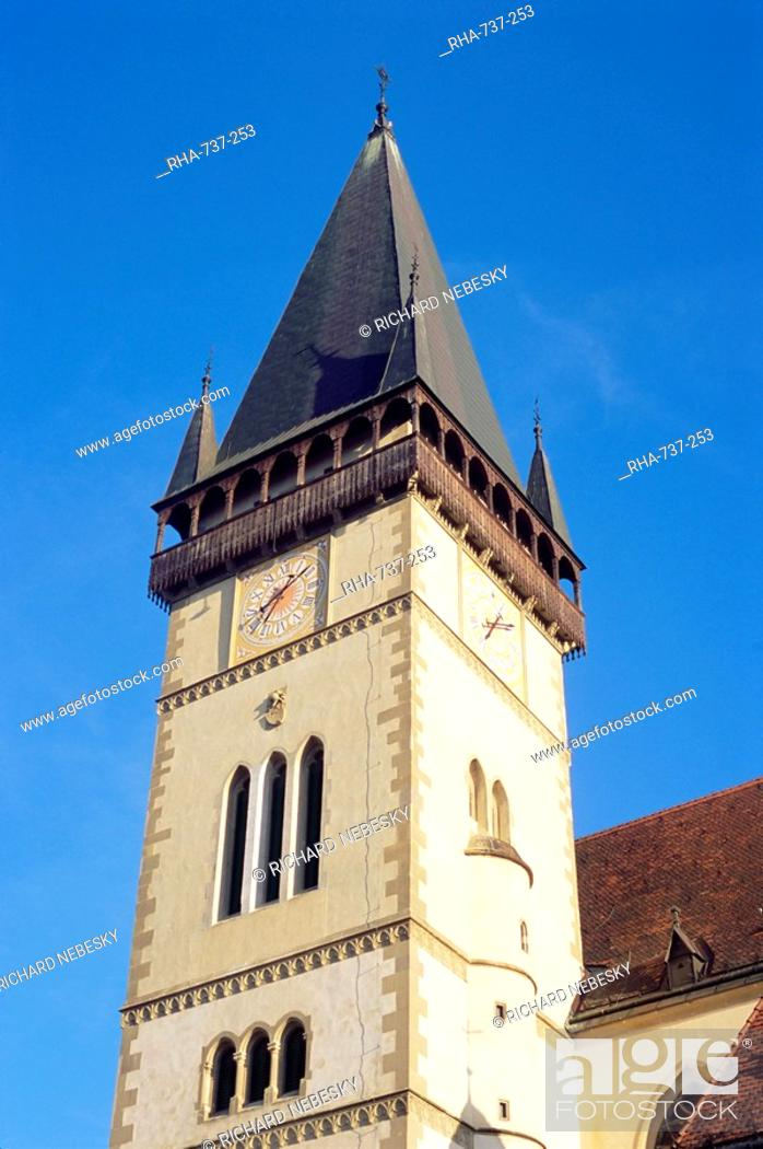 15th century Gothic tower of church of St  Egidius, Bardejov