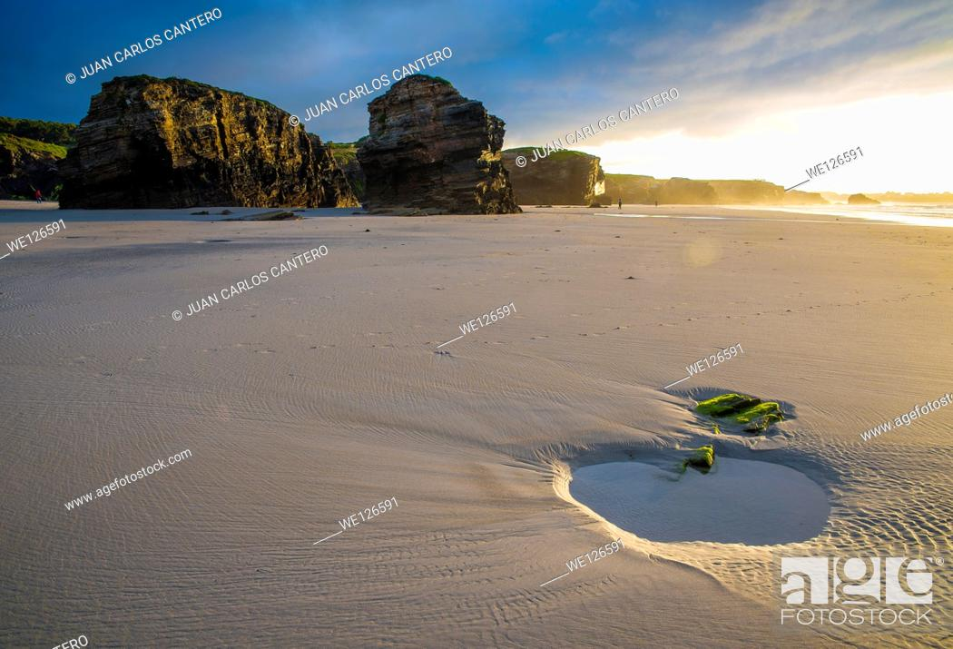 Stock Photo: Beach of the Cathedrals in Ribadeo. Lugo. Galicia. Spain. Europe.