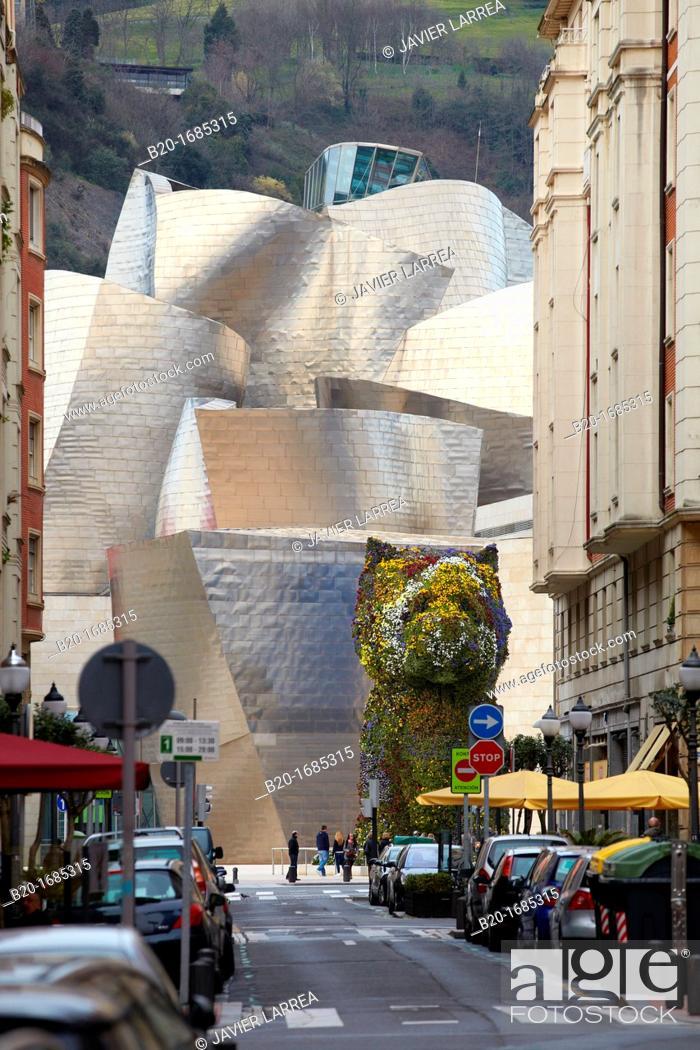 Stock Photo: 'Puppy' statue by Jeff Koons, Guggenheim Museum, Abandoibarra, Bilbao, Bizkaia, Basque Country, Spain.