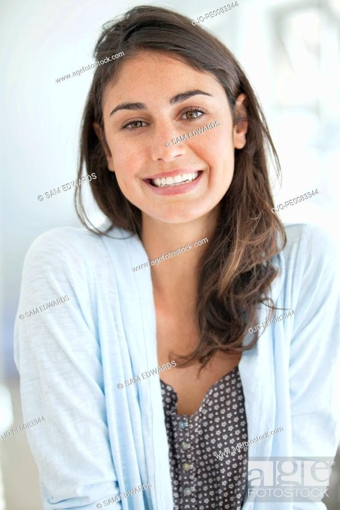 Stock Photo: Close up portrait of smiling woman.