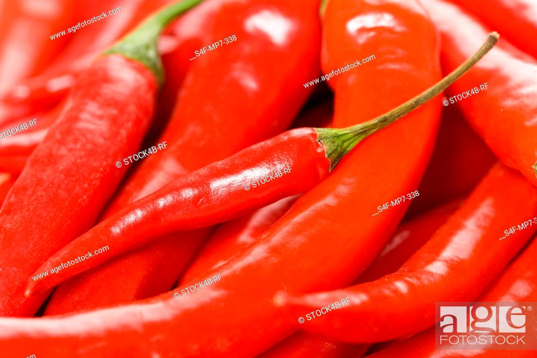 Stock Photo: Detail of chillies.