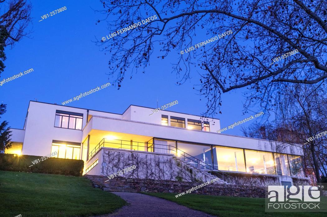 Mies Der Rohe Villa Tugendhat villa tugendhat at dusk mies der rohe built it between 1928 and