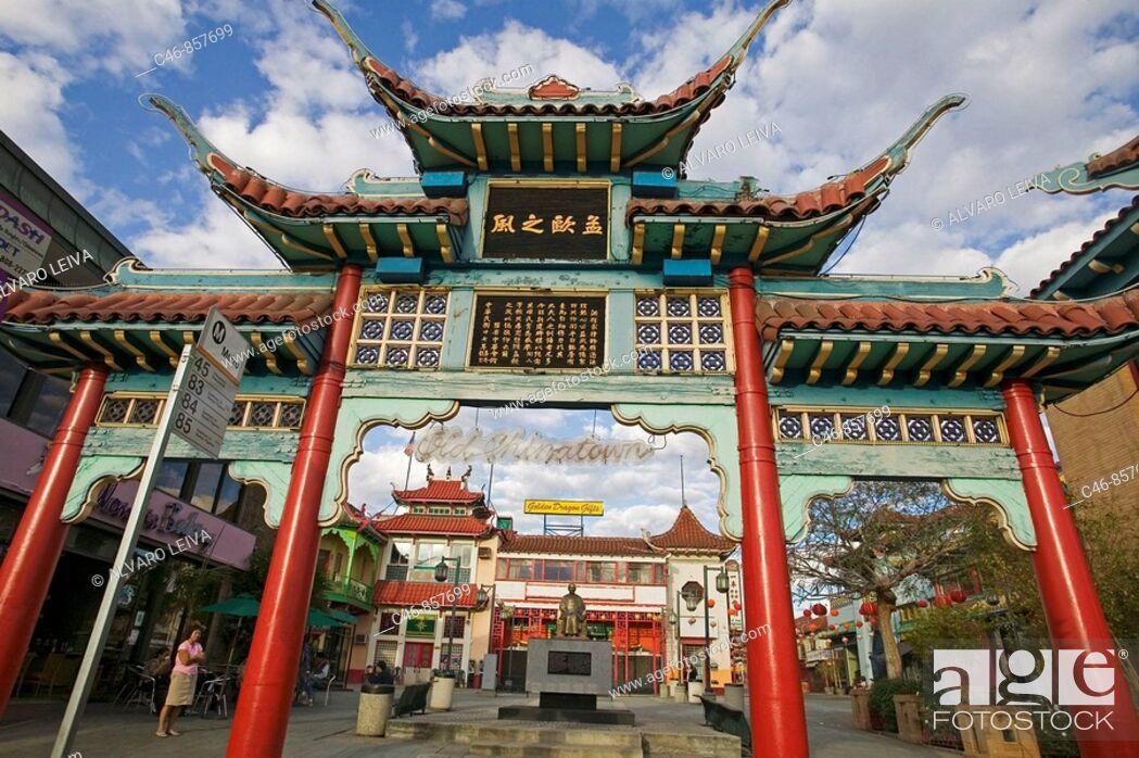 Stock Photo: Gate, Chinatown, Los Angeles, California, USA.