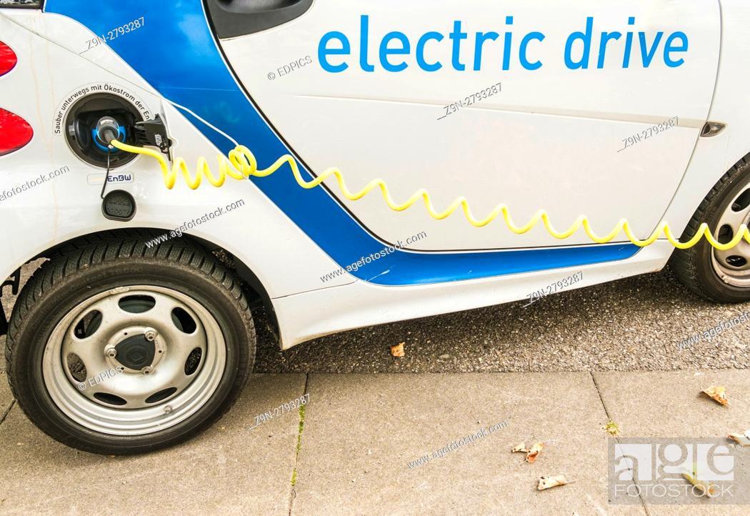 Stock Photo: energy supplier enbw, electro mobility charging station, stuttgart, baden-wuerttemberg, germany.