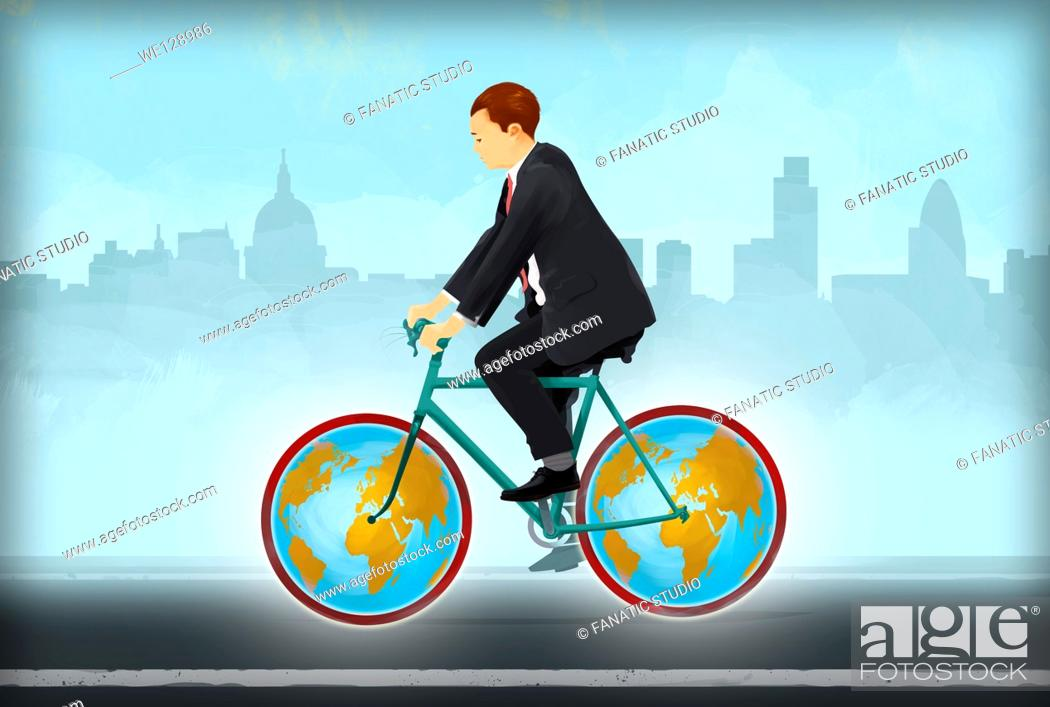 Stock Photo: Illustrative image of businessman riding bicycle with globe tires representing global business travel.