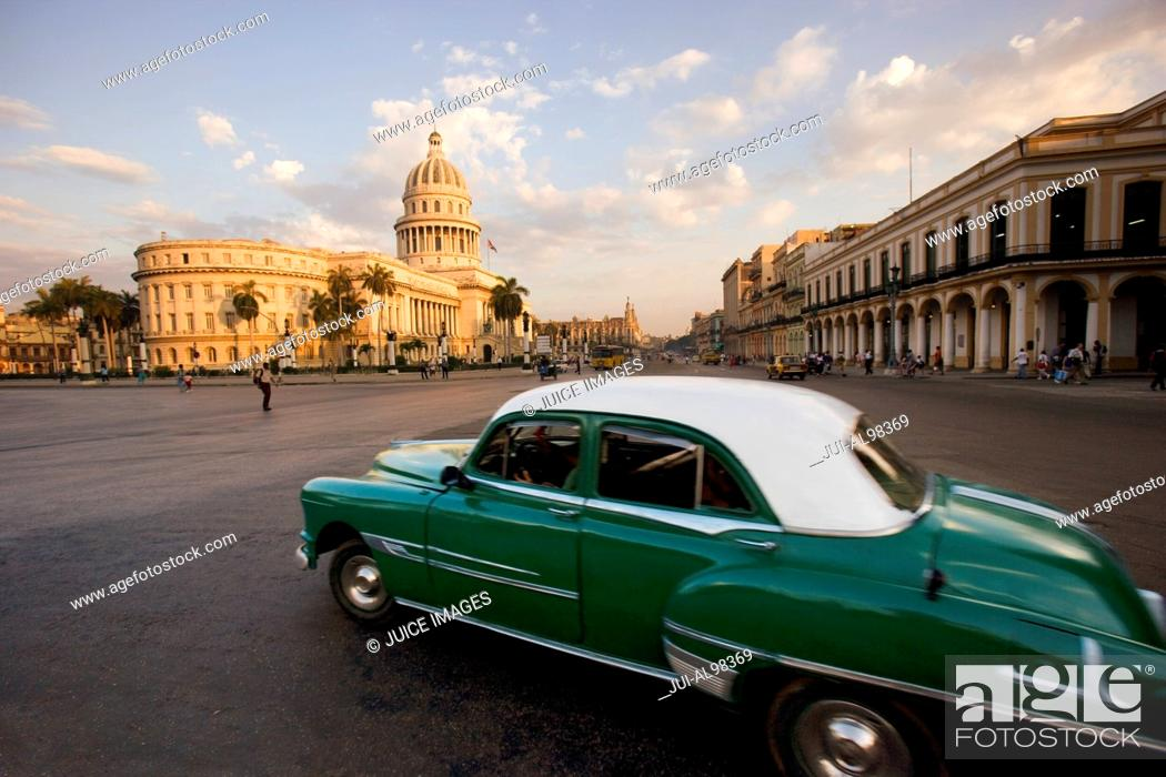 Stock Photo: View from Hotel Saratoga to Capitol, Prado and old downtown Havana at sunset, Cuba.