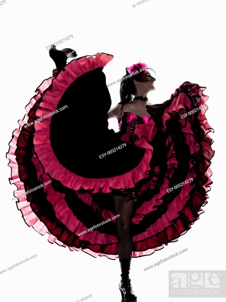Stock Photo: woman dancer dancing french cancan in studio isolated on white background.