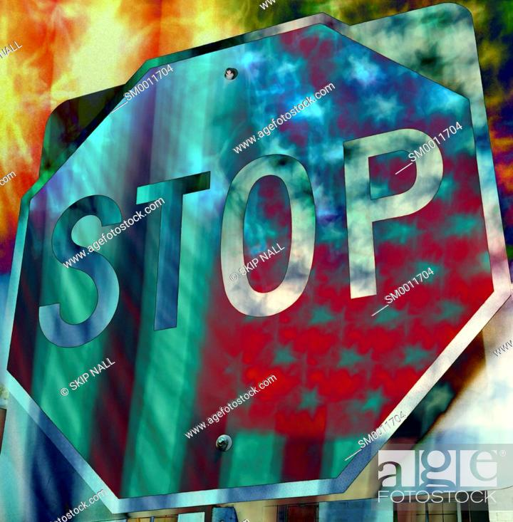 Stock Photo: A double exposure of a stop sign and the American Flag.