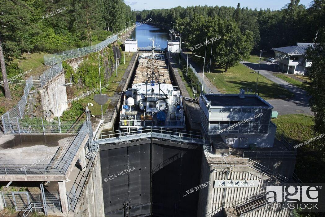 Stock Photo: Cargo ship Elise at Mälkiä lock in Saimaa canal, Lappeenranta Finland.