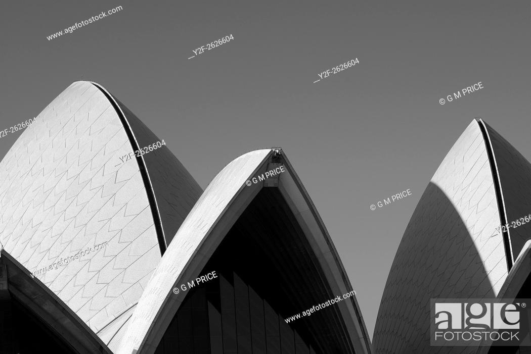 Stock Photo: shell shapes of Sydney Opera House roof.