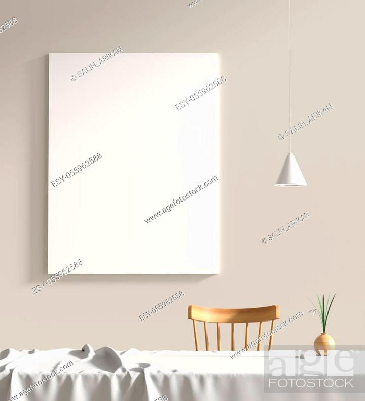 Stock Photo: Mock up poster frame in scandinavian style interior. Minimalist interior design. 3D illustration.
