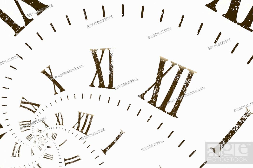 Stock Photo: Droste effect background with infinite clock spiral. Abstract design for concepts related to time and deadline.