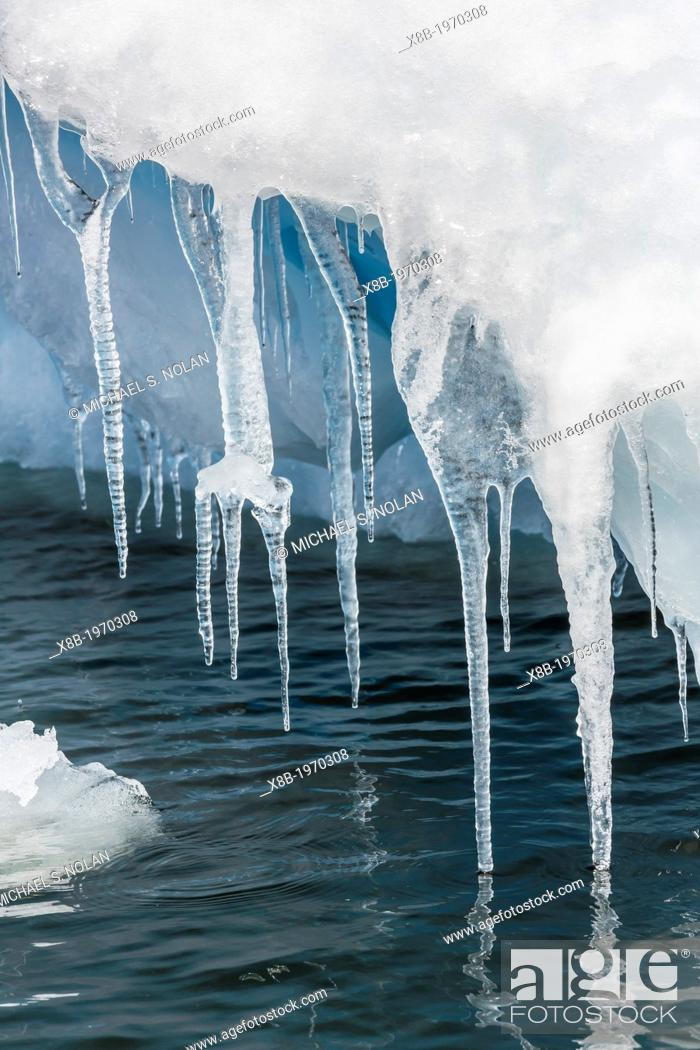Imagen: Icicles hanging from iceberg on Pleneau Island, western side of the Antarctic Peninsula, Southern Ocean.