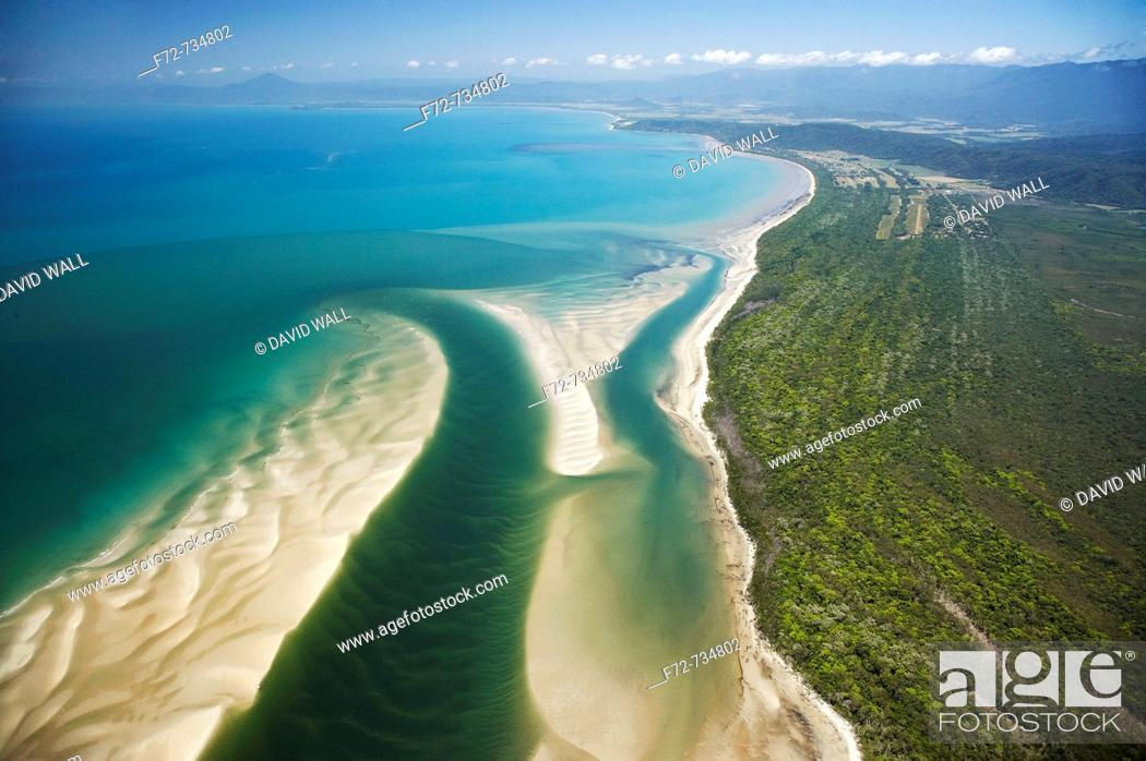Stock Photo: Daintree River Mouth, Daintree National Park World Heritage Area, North Queensland, Australia - aerial.