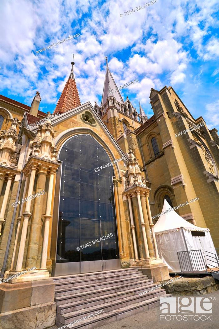Stock Photo: Lausanne city Notre Dame Cathedral in Switzerland Swiss.