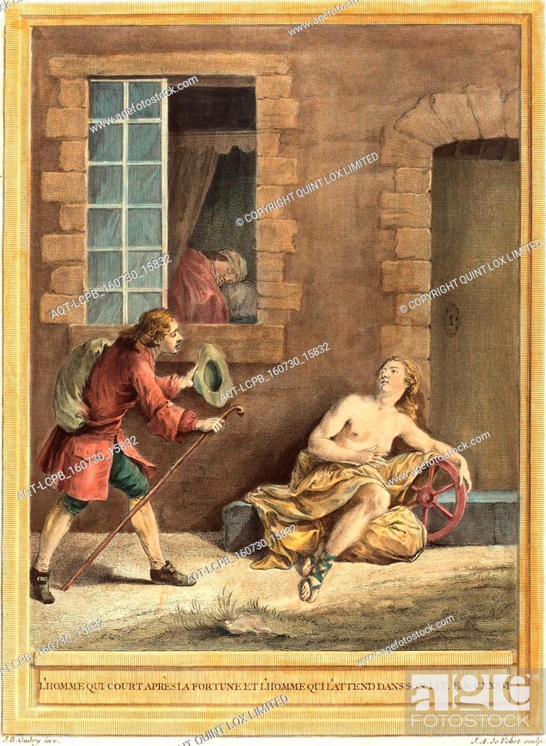 Stock Photo: A.J. de Fehrt after Jean Baptiste Oudry (French, born 1723 ), L'homme qui court apres la fortune et l'hommequi l'attend dans son lit (The Man who Courts Fortune.