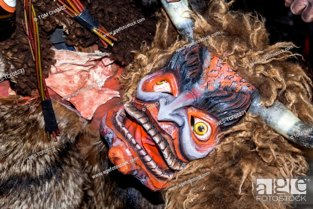 Handcrafted Wooden Krampus Mask Stock Photos And Images Age Fotostock