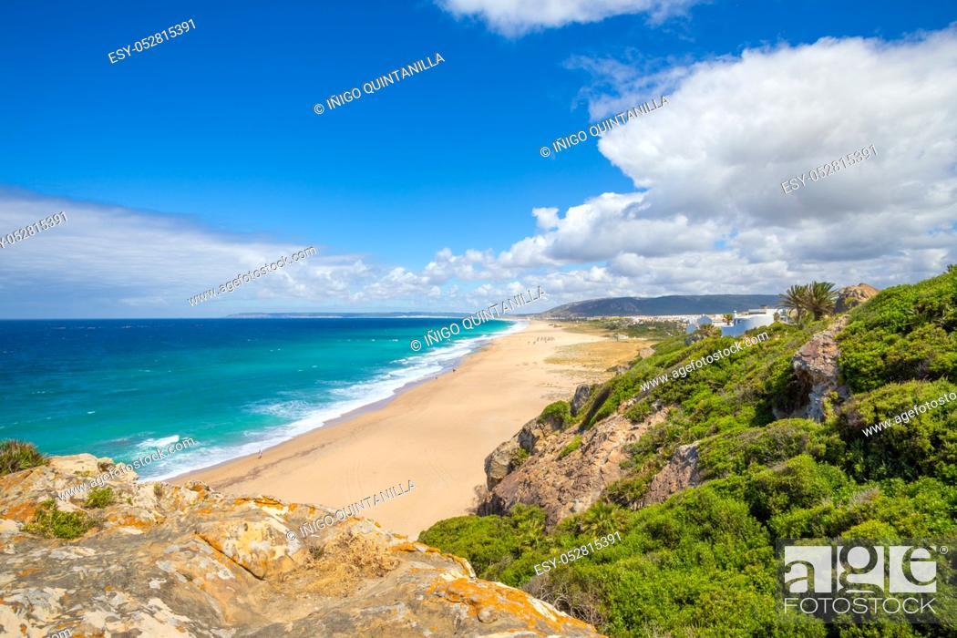 Stock Photo: landscape of Atlanterra Beach, from top of mountain in Cape Plata, near Zahara de los Atunes village (Cadiz, Andalusia, Spain).
