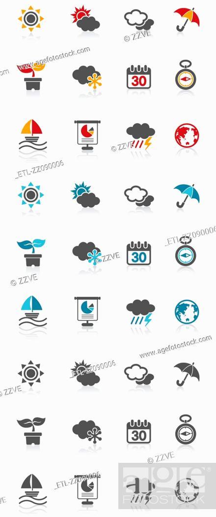 Stock Photo: four seasons icon set.