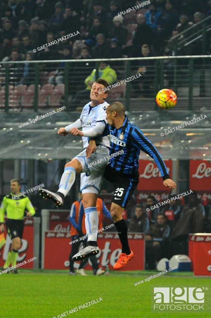 Stock Photo: 2015 Serie A Football Inter Milan v Lazio Dec 20th. 20.12.2015. San Siro Stadium, Milan, Italy. Joao Miranda of FC Inter and Sergei Milinkovic-Savic of SS Lazio.