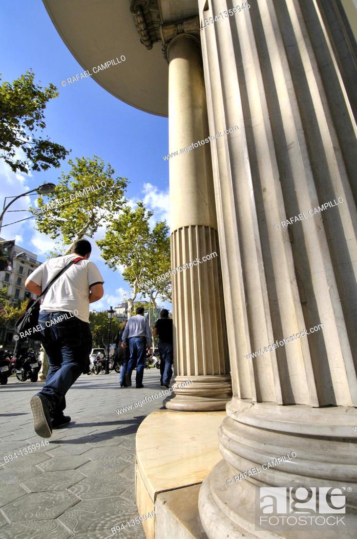 Stock Photo: People walking down Passeig de Gracia, Barcelona, Catalonia, Spain.