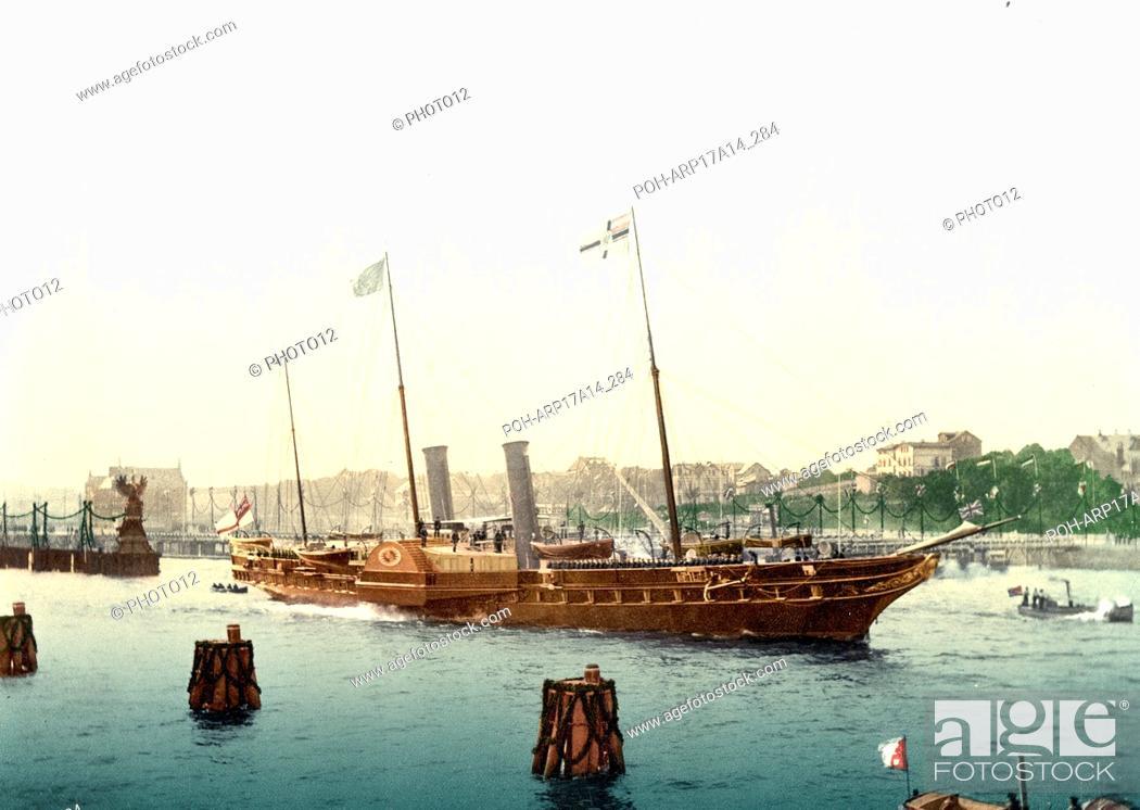 The osborne', Queen Victoria's royal yacht, sails past Osborne, on